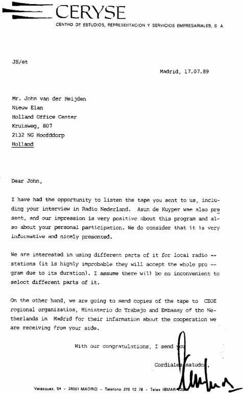 aanhef brief spaans 12 SEPTEMBER 1999 HET ZWARTE SCHAAP