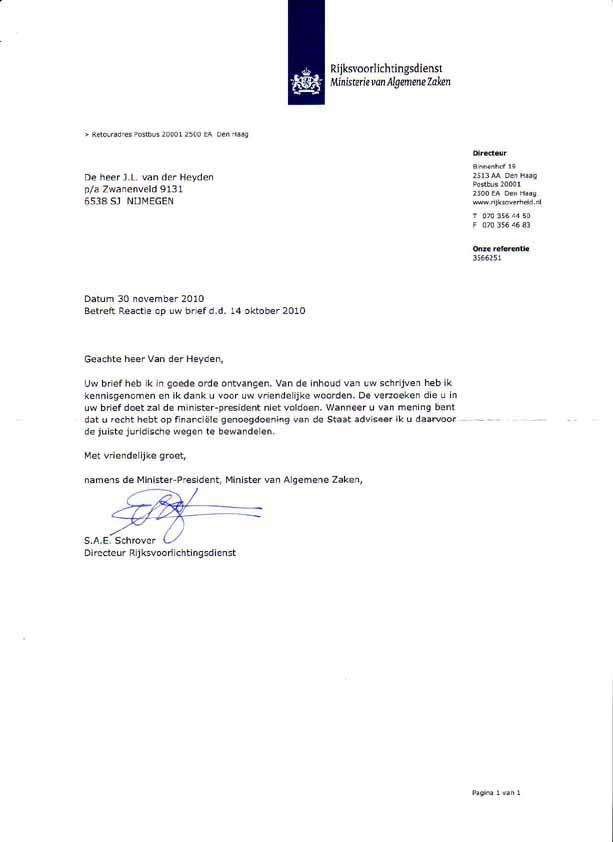 begeleidende brief brochure voorbeeld 1 NOVEMBER 1995 FAX 30 10 1995 TER ATTENTIE VAN MINISTER WINNIE
